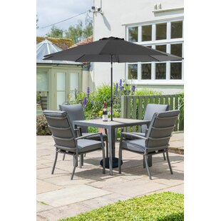 Aurik 4 Seater Dining Set With Cushions And Parasol By Sol 72 Outdoor