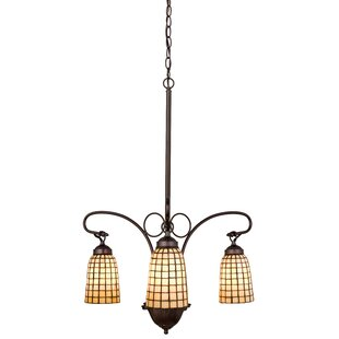 Meyda Tiffany Victorian Tiffany Terra Bone 3-Light Shaded Chandelier