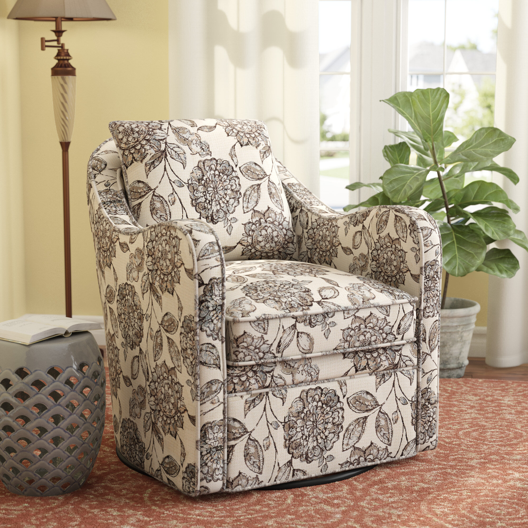Alcott hill brick and barrel swivel armchair reviews wayfair