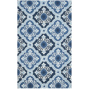 Reviews Blocher Hand-Hooked Navy/Blue Area Rug By Red Barrel Studio