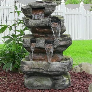Outdoor fountains youll love wayfair resinfiberglass outdoor electric tiered stone waterfall with led light audiocablefo