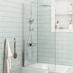 Forada 1400 Mm X 800 Pivot Semi Frameless Bath Screen