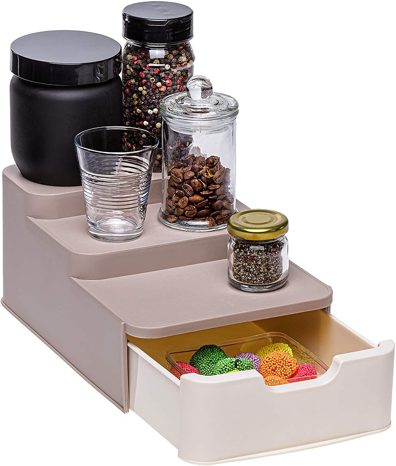 FREE STANDING STAINLESS STEEL KITCHEN SPICE RACK STAND 20 SQUARE STORAGE JARS