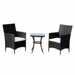 Mowgli 3 Piece Rattan Bistro Table and Chair Set with Cushion