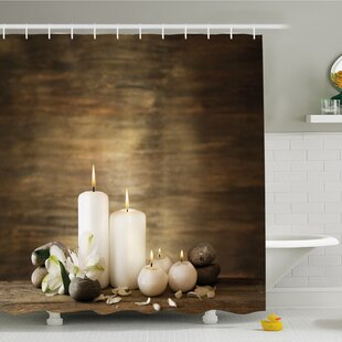 Reviews Spa Composition of Pure Candles Wooden Background with Stones and Flower Petals Shower Curtain Set ByAmbesonne