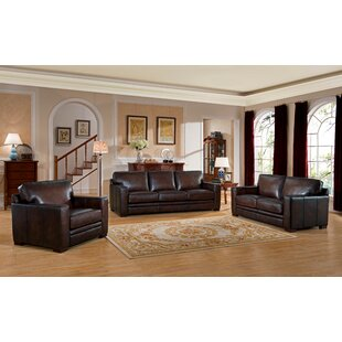 World Menagerie Mcdonald Traditional Leather 3 Piece Living Room Set