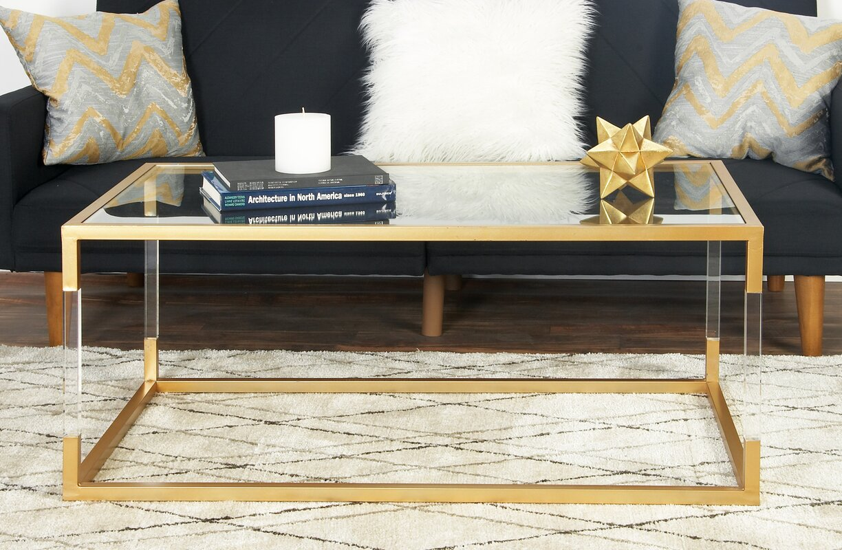 Honea Metal And Glass Acrylic Coffee Table