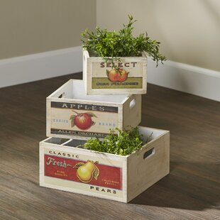 Price Check 3 Piece Assorted Retro Fruit Solid Wood Crate Set By WaldImports