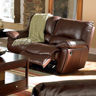 Wildon Home ? Red Bluff Leather Reclining Loveseat