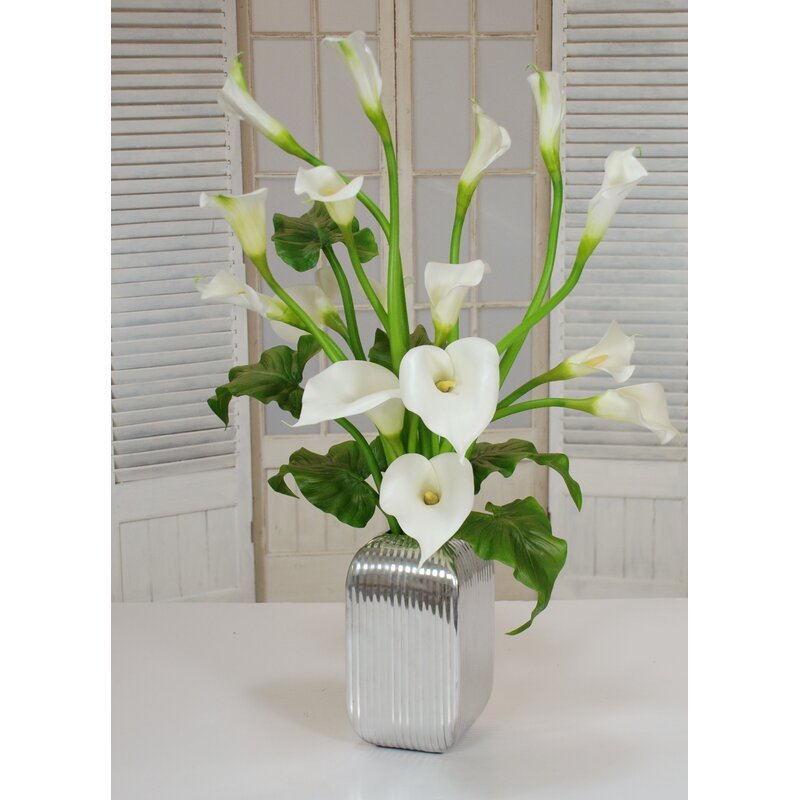 Winward Home Calla Lilies Floral Arrangement In Vase Perigold
