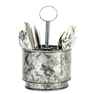 Galvanized 4 Section Flatware Caddy