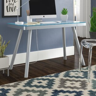 Zeller Glass Writing Desk by Latitude Run Wonderful