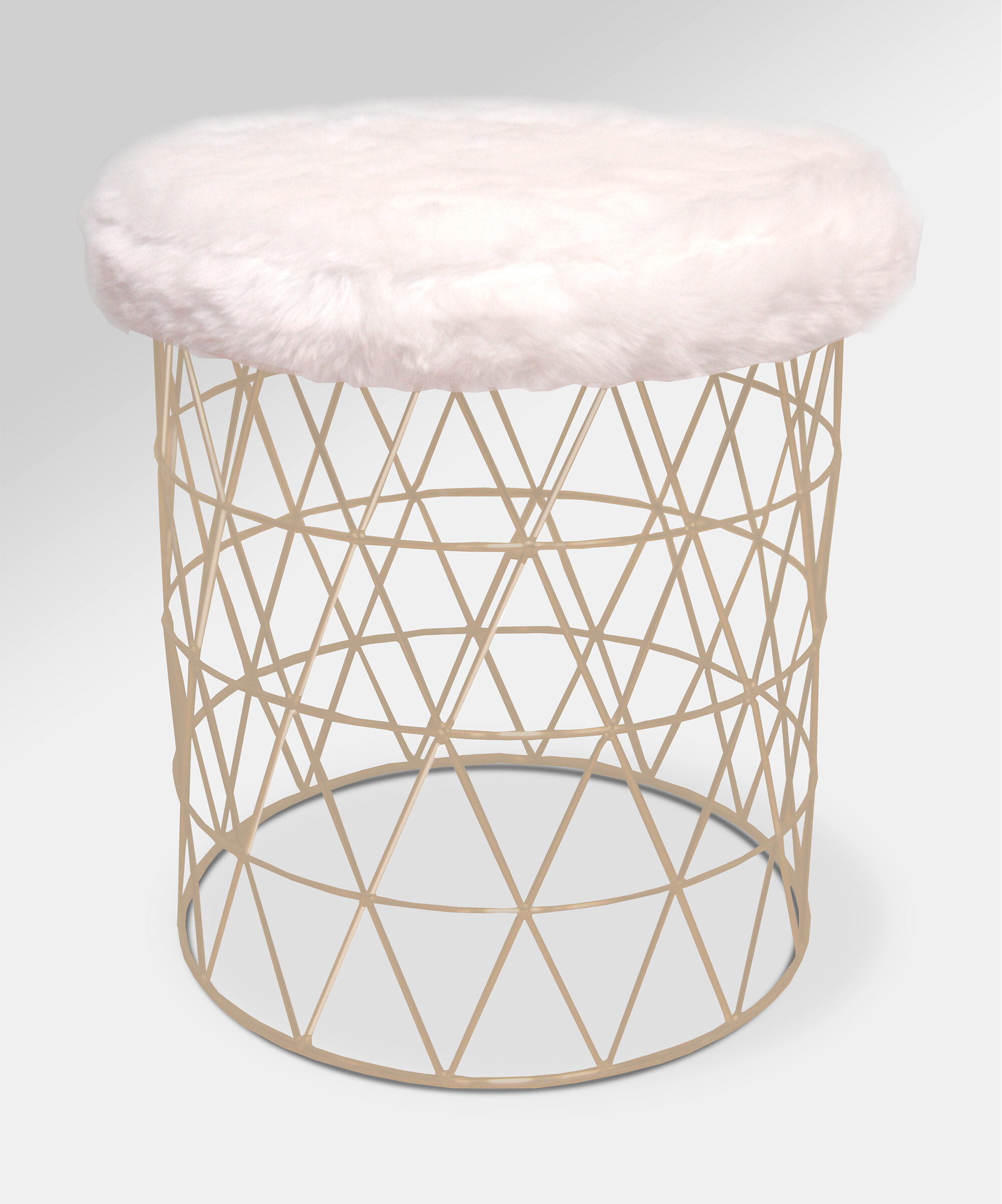 Incredible Mccarty Modern Furry Round Vanity Stool Evergreenethics Interior Chair Design Evergreenethicsorg