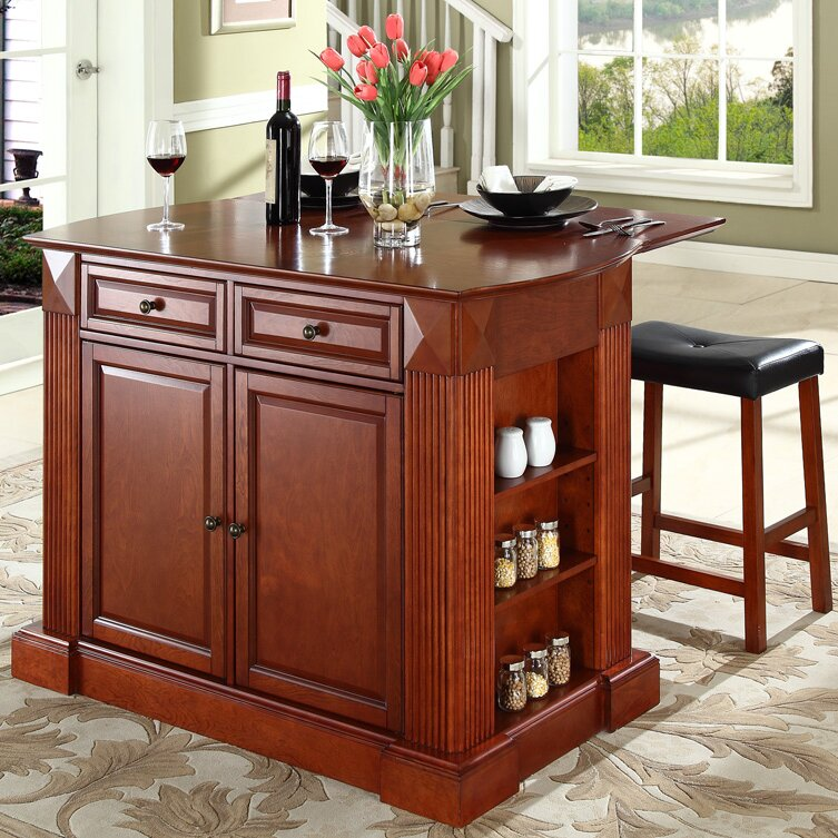 Beachcrest Home Byron Kitchen Island with Cherry Top and Saddle ...