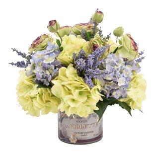 Mixed Hydrangea Bouquet Floral Arrangement in French Pot