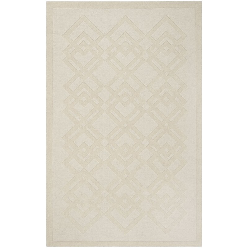 Carved Hand Loomed Wool Ivory Area Rug