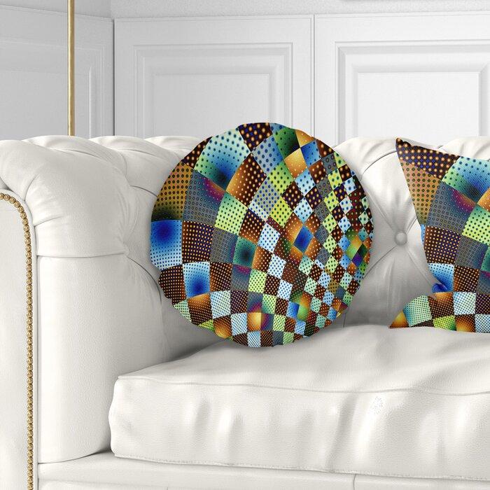 Fractal Geometric Ornament Design Contemporary Throw Pillow