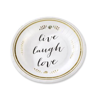 Live, Laugh, Love Paper Dessert Plate (Set of 8)