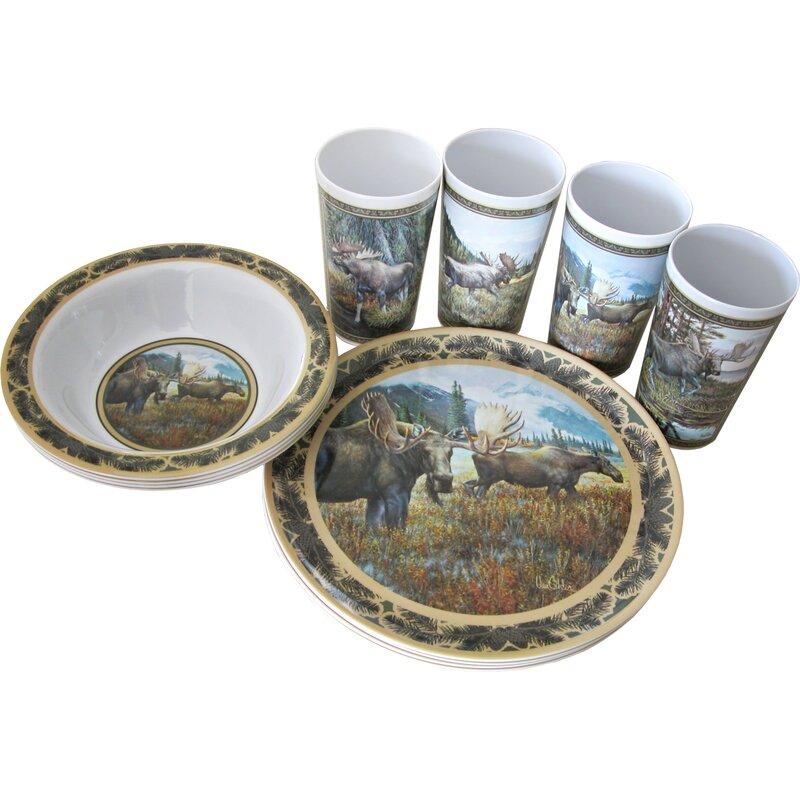Majestic Moose Melamine Dinnerware Set