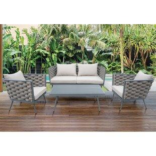 Corrigan Studio Edison Park Outdoor 4 Piece Rattan Sofa Set