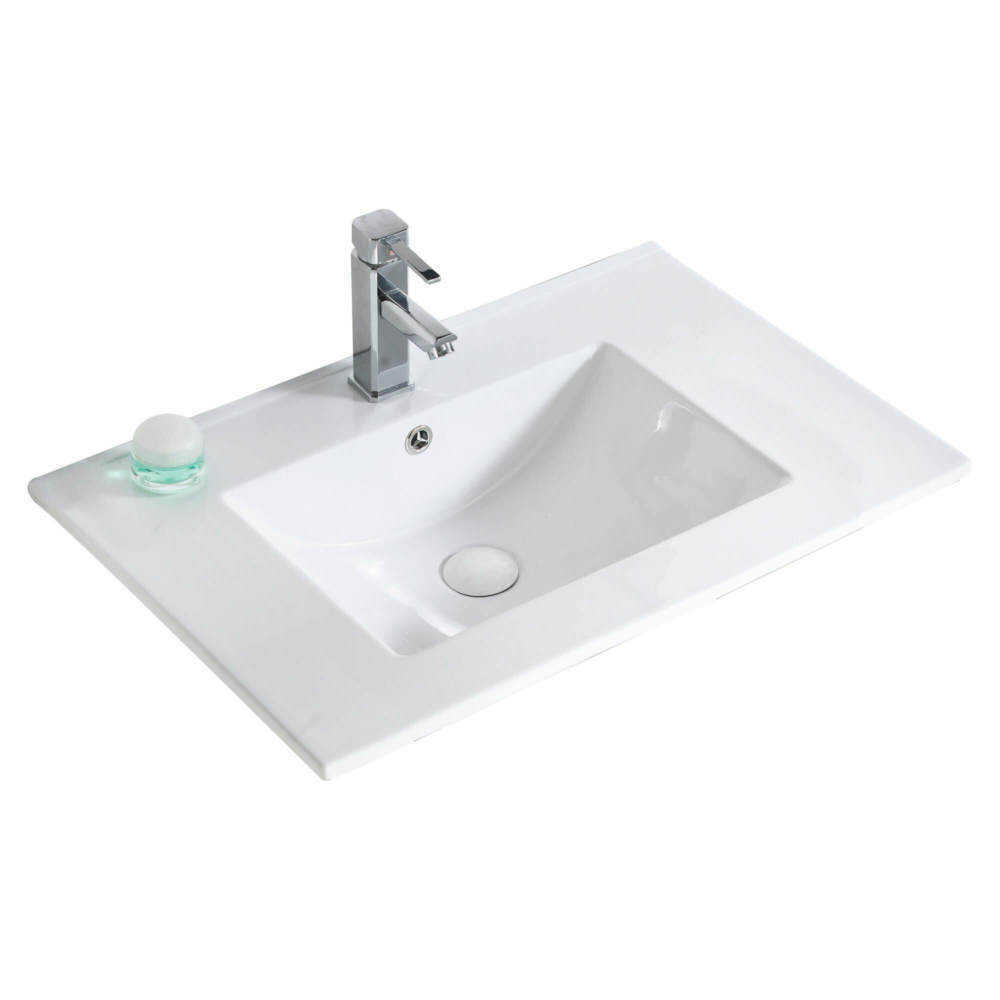 Fine Fixtures Frameport 30 Single Bathroom Vanity Top In White With Sink Reviews Wayfair