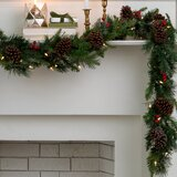 9' Garland with 50 Multi-Colored Lights
