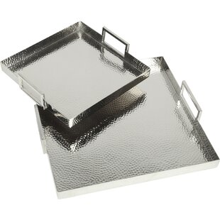 Hammered Square 2 Piece Serving Tray Set