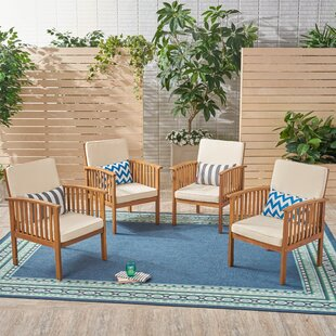Crosby Outdoor Patio Chair with Cushions (Set of 4)