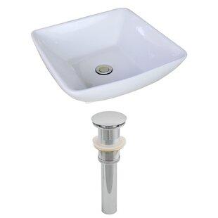 Ceramic Rectangular Vessel Bathroom Sink with Overflow ByAmerican Imaginations