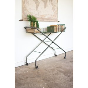 Herman Rolling Metal Basket Console Table