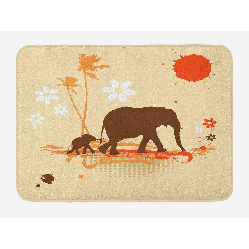Orange Brown Cream Elephant Bath Rug