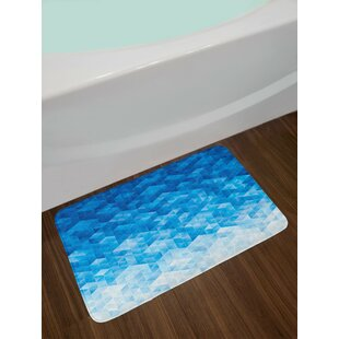 Geometric Gradient Digital Texture with Mosaic Triangle Pixel Graphic Print Art Non-Slip Plush Bath Rug