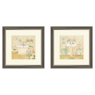 Bath Master 2 Piece Framed Painting Print Set