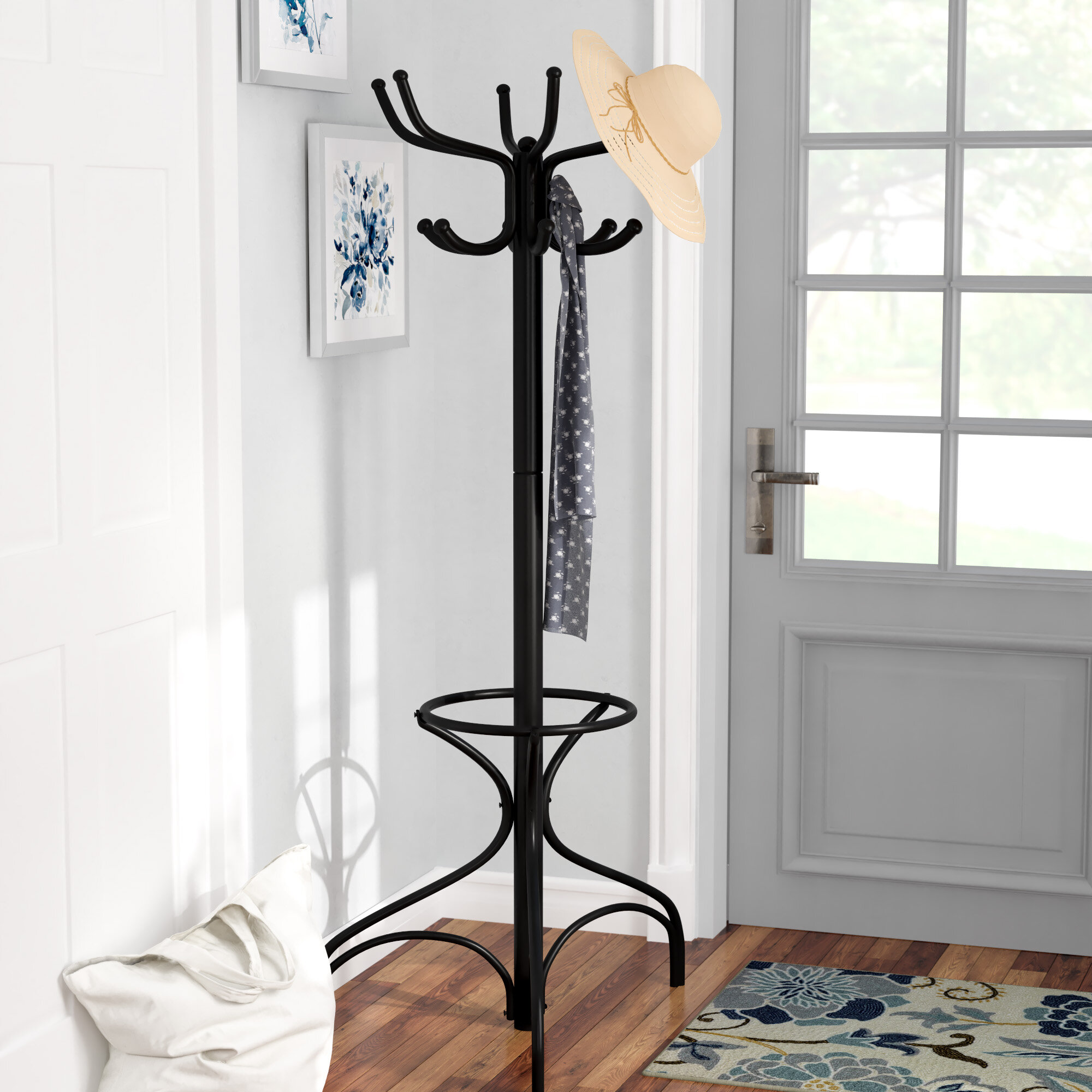 Andover Mills™ Metal Coat Rack with Umbrella Holder & Reviews