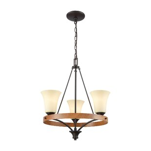 Price comparison Sapphire 3-Light Wagon Wheel Chandelier By Millwood Pines