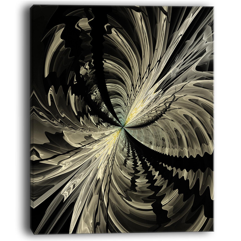 Designart Black And White Fractal Flower Design Graphic Art On
