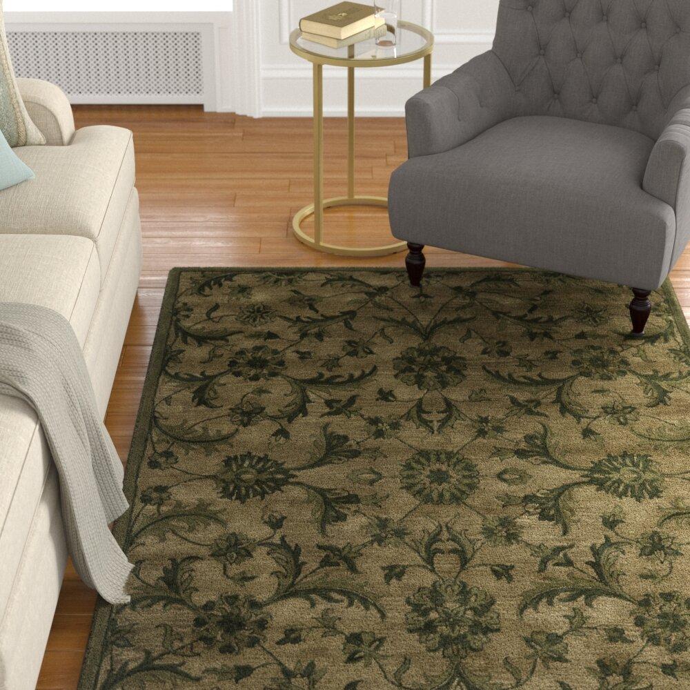 Charlton Home Dunbar Floral Hand Tufted Wool Olive Green Area Rug Reviews Wayfair