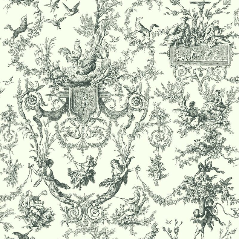 "Campagne 33' x 20.5"" Toile Distressed Wallpaper"