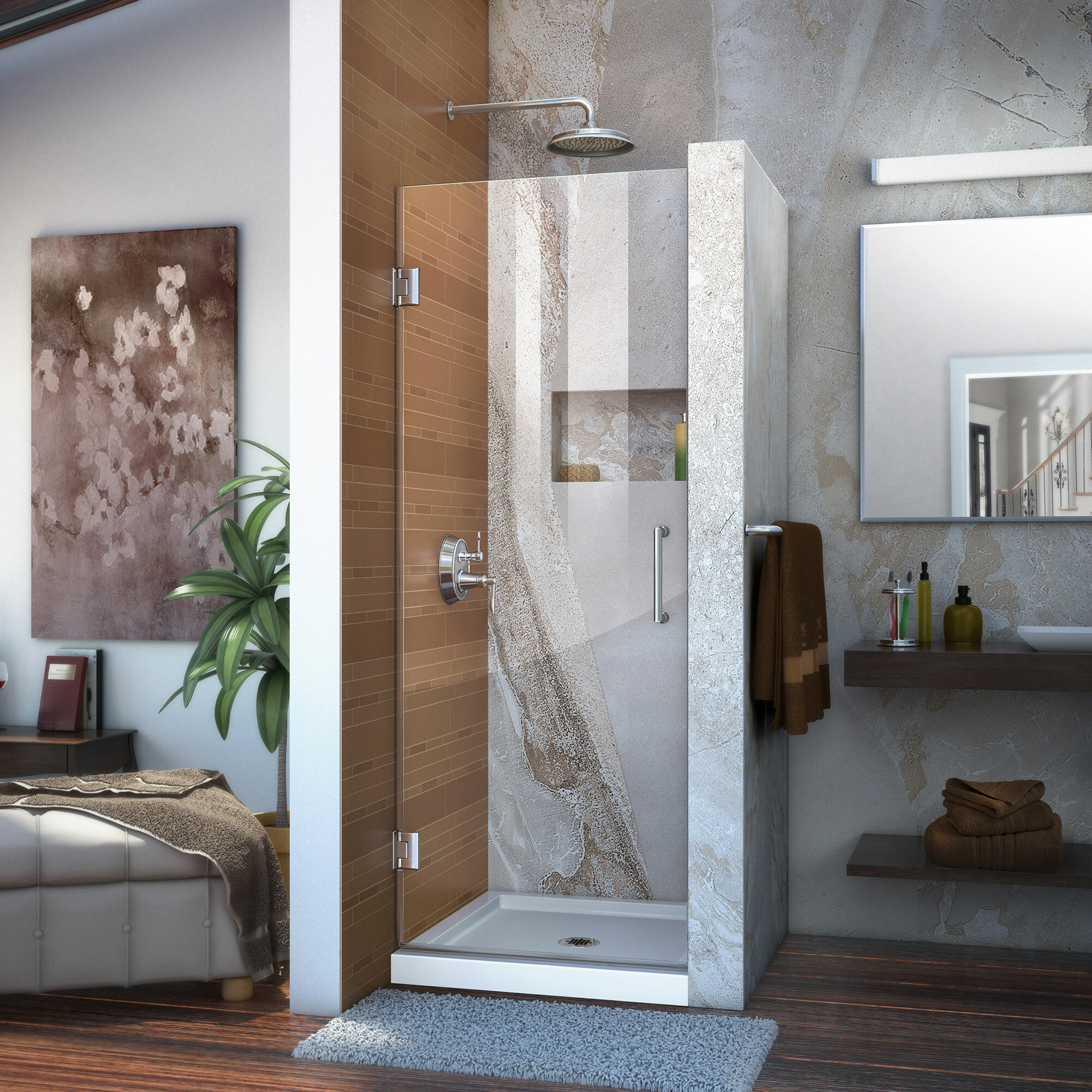 Unidoor 30 X 72 Hinged Frameless Shower Door With Clearmax Technology