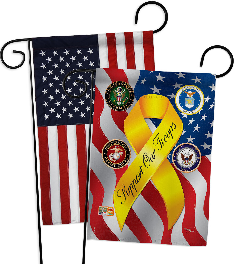 Breeze Decor Support Our Troops Freedom Impressions Decorative American Applique 2 Sided Polyester 19 X 13 In Garden Flag Wayfair