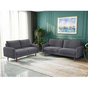Horance 2 Piece Velvet Round Arm Living Room Set by Corrigan Studio