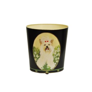Worlds Away Yorkshire Terrier Wastebasket Image