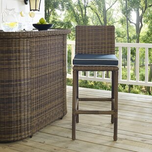 Dardel Patio Bar Stool with Cushion (Set of 2) by Beachcrest Home