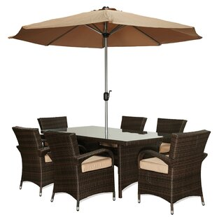 Hedrick 7 Piece Dining Set with Cushions