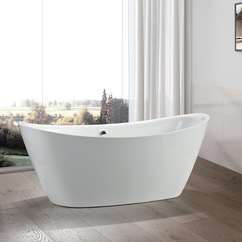 "vanity art 71"" x 34"" freestanding soaking bathtub & reviews | wayfair.ca"