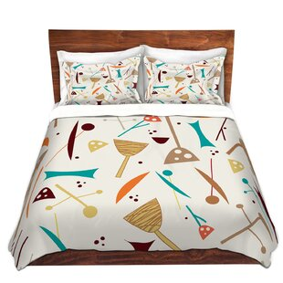 DiaNoche Designs Mid Century Hero Cream Duvet Cover Set