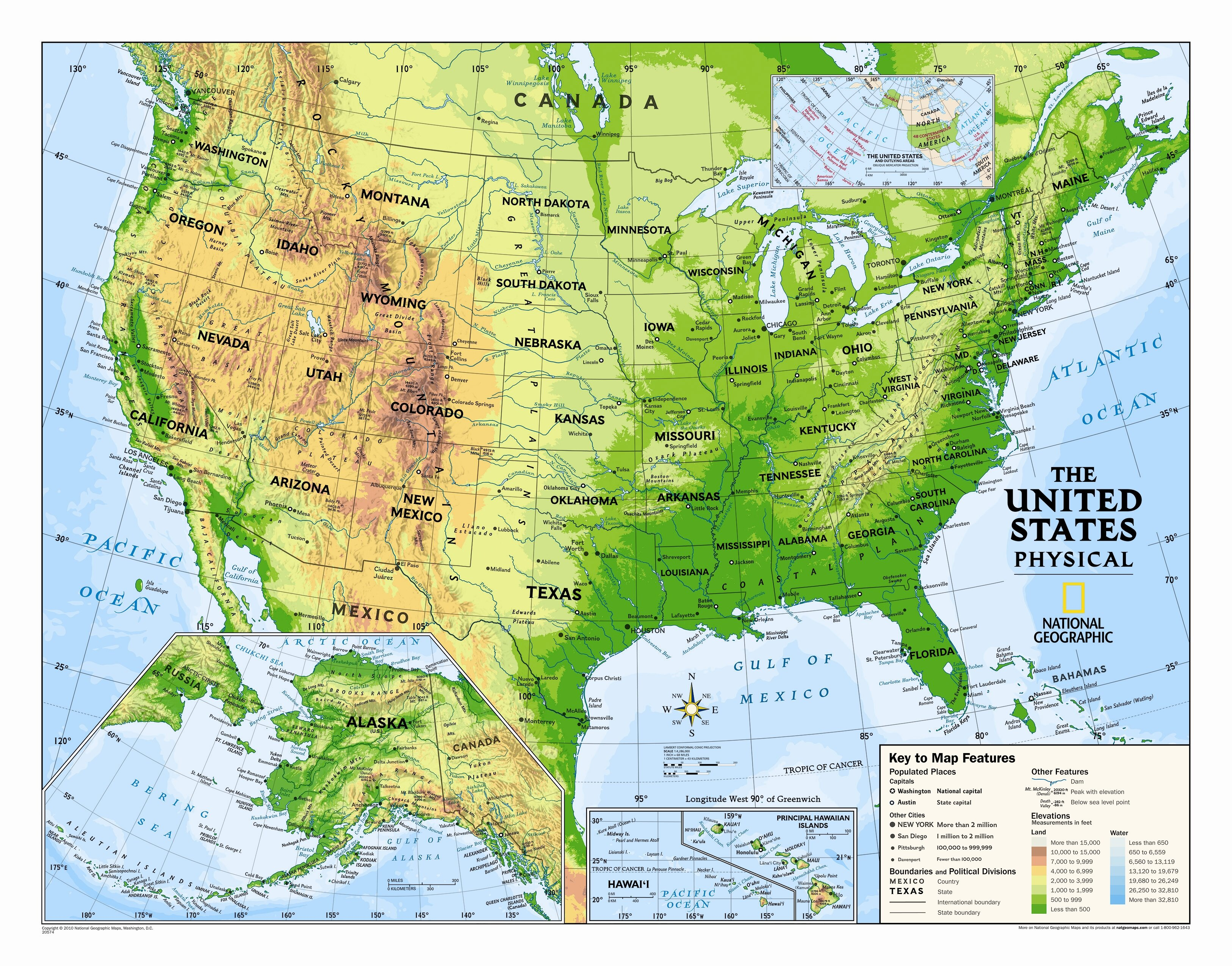 Kids Usa Map.National Geographic Maps Kids Physical Usa Wall Map Graded 4 12