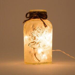 Glitzhome Lighted Frosted Glass Reindeer Head Mason Jar Luminary