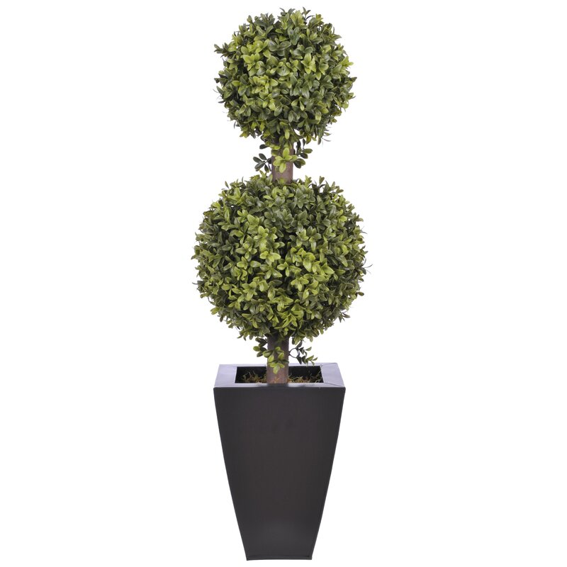 Langley Street  Artificial Double Ball Floor Boxwood Topiary in Planter Pot Size: 10.5 H, Base Color: Black Zinc