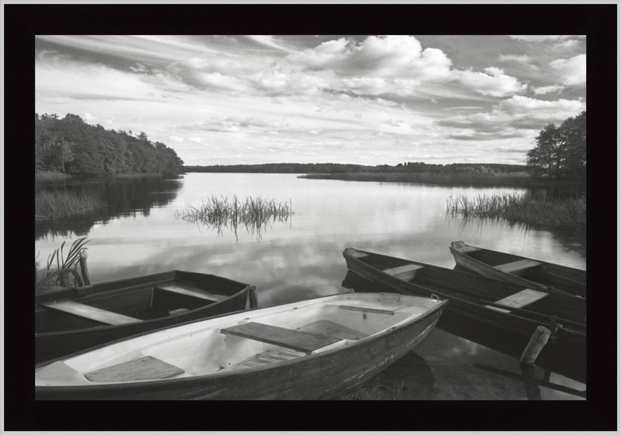 Tangletown Fine Art Four Boats at Sunset by Monte Nagler Framed ...